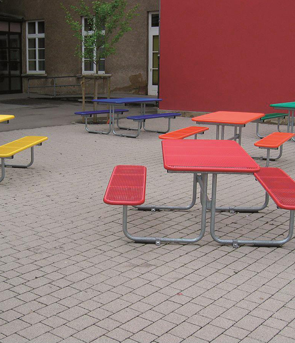 parador schulhof, metal picnic table with red accents