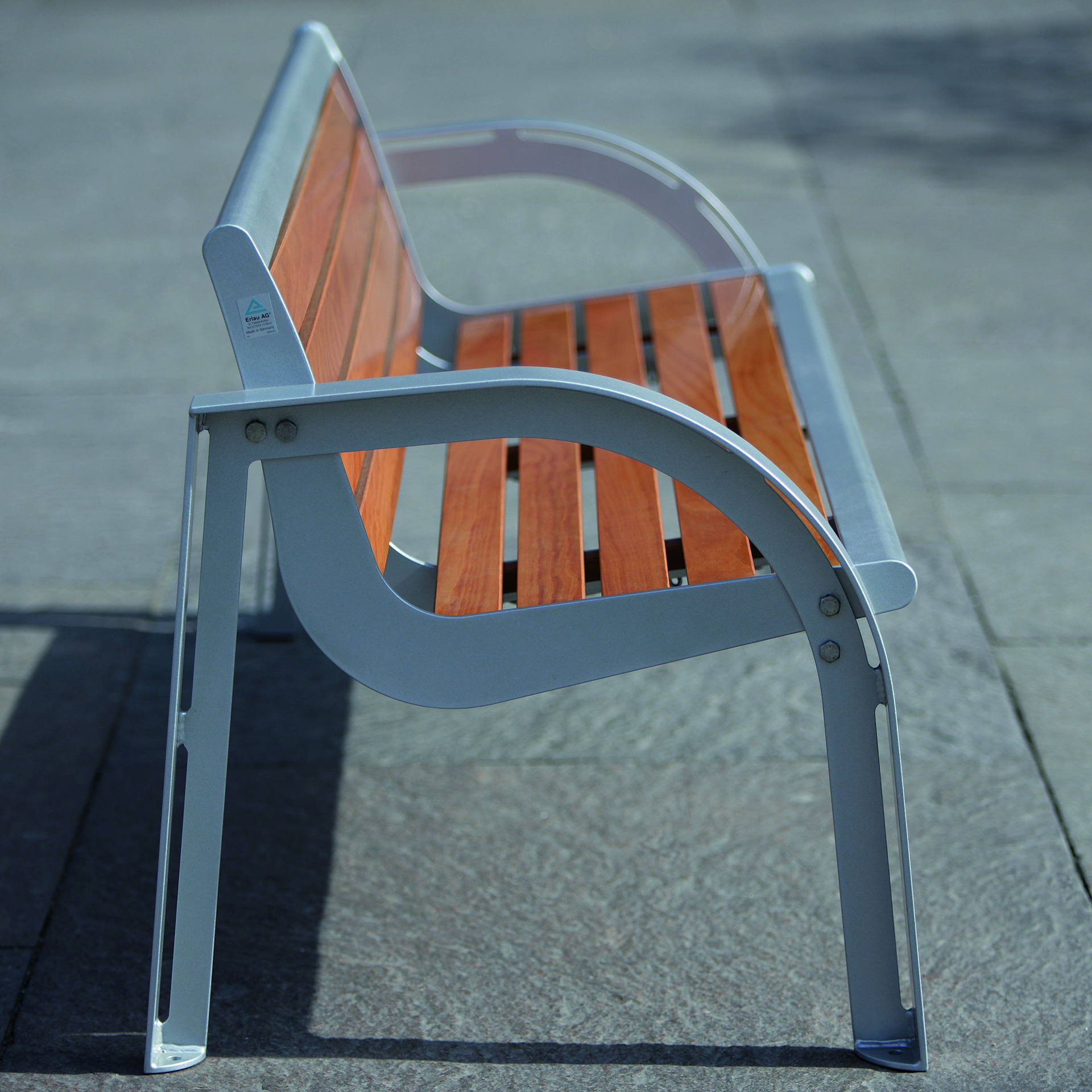Stella Bench, wooden and metal bench