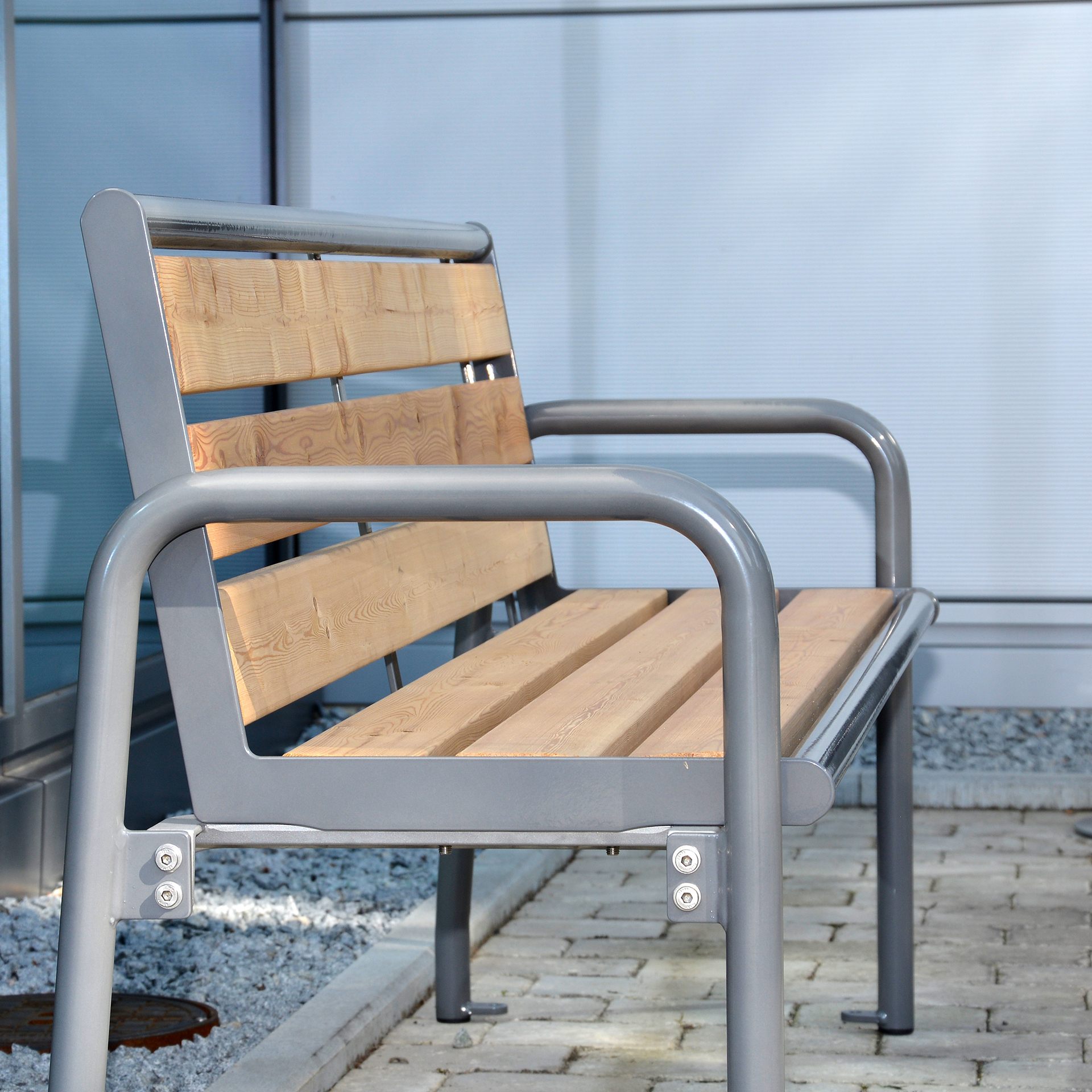Charisma Bench, wooden and metal bench